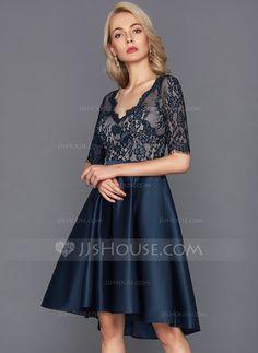 Forme Princesse Col V Asymétrique Satiné Robe de cocktail (016124565) - JJsHouse