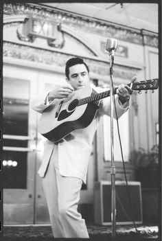 Johnny Cash on stage.