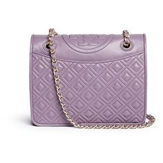 Tory Burch 'Fleming' medium quilted leather bag (2 470 PLN) ❤ liked on Polyvore featuring bags, handbags, purple, mini handbags, tory burch bags, quilted leather handbags, pocket purse и print purse