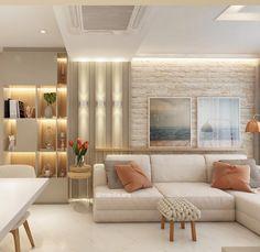 Sala de Estar | Tons neutros e suaves, atmosfera contemporânea e estilo clean. Assim foi concebido o conceito desta sala. As paredes…