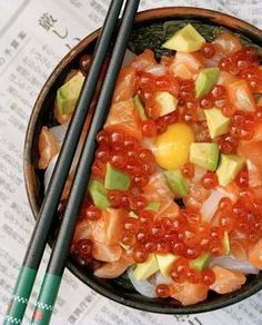 salmon oyako don. This just looks so heavenly. Salmon, salmon roe, avocado, and a raw egg. OMG.