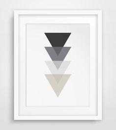 Monochrome Art, Triangle Art, Black and White Decor, Black and White Artwork, Triangle Wall Art, Black White Geometric, Black Geometric