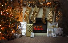 silver and gold with bronze sparkle christmas tree and fireplace mantle