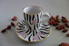 Espressotasse Rosenzebra Tea Cups, Porcelain, Tableware, Gifts, Men, Love, Porcelain Ceramics, Dinnerware, Presents