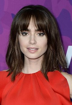 Lily Collins with fringe and berry lipstick   ASOS Fashion & Beauty Feed