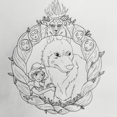 Princess Mononoke Tattoo Outline