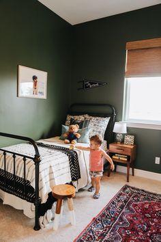 Toddler room, iron bed, dark green walls, big boy room, boy nursery, Kaila Walls, #greenhouse