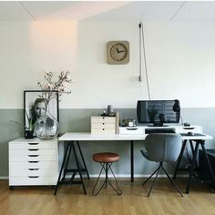 Workspace Inspo and Image Regram thanks to Jonathan @irndsn based in the Netherlands. We stumbled upon this account and so glad we did...workspace wow right here! It's had a change of wall colour since but we still love the two toned wall in this image. Fab styling and ample desk space makes for one functional and very cool workspace design! Thanks Jonathan we love your workspace style! by theworkspacestylist