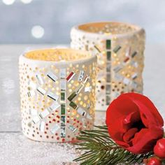 "Glittery candle holders appear magically frosted with snow and ice! Grout-covered glass cups for use with a tealight or votive, sold separately. 2½""h, 2½""dia."