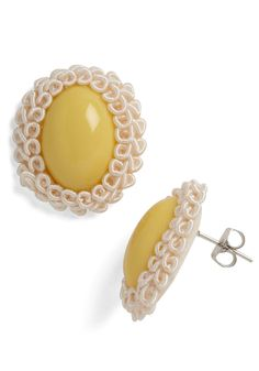 These cheerful yellow earrings echo the warm, inviting light coming from inside the cottage.  #modcloth, #katieskau