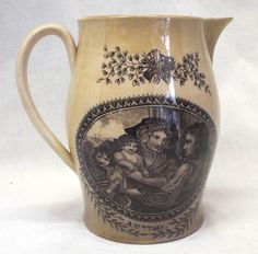 """BEAUTIFUL Old Antique LIVERPOOL Pottery JUG PITCHER """"Autumn"""" FARM Creamware GOD 
