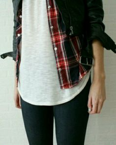 Classic Flannel button down over a simple white tee and paired with black denim & a moto jacket