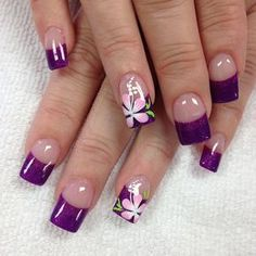 """""""Even Steve Urkel loves purple, so expand your circle and don't be hurtful - Best Nail Art Nail Tip Designs, Purple Nail Designs, Cute Nail Art Designs, French Nail Designs, Nail Designs Spring, Cute Nails, Pretty Nails, My Nails, Purple Nail Art"""