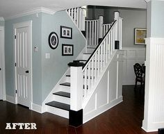 See how to transform your carpeted stairs into beautiful painted wood stairs with this DIY stair remodel. Painted Wood Stairs, Wainscoting Styles, Black Wainscoting, Wainscoting Hallway, Painted Wainscoting, Staircase Makeover, Staircase Ideas, Staircase Pictures, Staircase Design