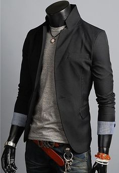 New Men's Korean Fashion Blazer With Trim