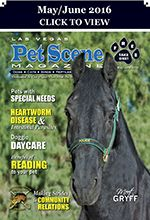 Las Vegas Pet Scene Magazine - May/June 2016  Inside This Issue: LVMPD Mounted Unit – Making Strides in the Community, 5 Tips for a Good Life with a Special Needs Pet, Introducing a new Kitty to your Family, Heartworm Disease + Intestinal Parasites, Doggie Daycare, Adding a Bird to Your Family, Read to your Pet, Create Your Own Story this Summer… Plus Adoptable Pets, Coupons, Pet Events and Much More!