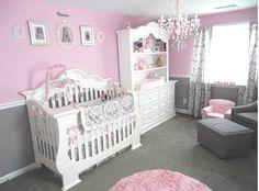 Pretty Baby Girl's Pink and Gray Princess Nursery Room with gray, white and pink damask crib bedding set.