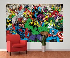 Wall mural photo wallpapers for home walls. Marvel Avengers Comic wall mural in size 232 x 158cm. Home wall decor. Hundreds designs at homewallmurals.co.uk