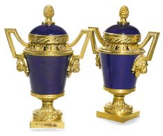 date unspecified A pair of gilt-bronze-mounted pot-pourri vases and covers Directoire, late century Estimate — GBP - LOT SOLD. GBP USD) (Hammer Price with Buyer's Premium) Vase Centerpieces, Vases Decor, Royal Park, Baskets, China Patterns, Light In The Dark, Light Blue, Fine Porcelain, Fine China