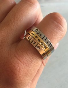 Stackable name ring. Children name ring. by MetalJewelryAmy