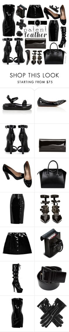 """""""Patent Leather"""" by ashleythesm ❤ liked on Polyvore featuring Prada, Lanvin, Yves Saint Laurent, Miu Miu, Givenchy, Topshop Unique, Robert Clergerie, Veil London, Dr. Martens and Pleaser"""