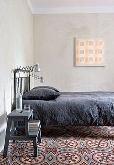 soft, washed linens, beautiful tiles