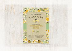 Printable (DIY Printing - You can download this custom design!) Thanksgiving Invitation - FAST personalization service!