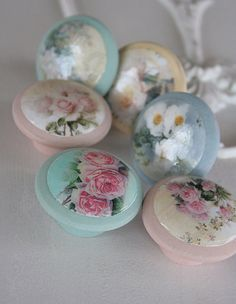Door Pulls Soft Roses 6 pc set by kmadson on Etsy