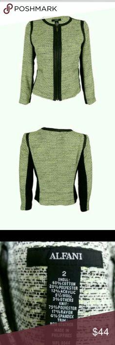 FINAL SALE! ALFANI Blazer size 2 New with tags Beautiful lime green and black Blazer / jacket size 2 Alfani Jackets & Coats