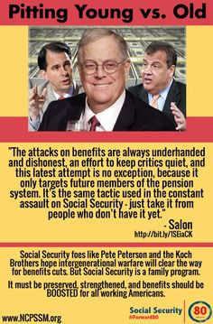 """Despite what conservatives say, the safety net works—which is why the 1 percent wants to stage a hostile takeover."" (click through to read more) #SocialSecurity"