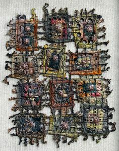 Art In Stitches: August 2009  interesting  way to put together weavette squares for wall hanging