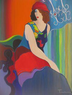 "Artist: Itzchak Tarkay; Title: ""Colorful Pose"", 2005; Description: Acrylic on Canvas"