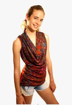 Orange blouse, Navajo,Aztec,tribal,cowl neck,  summer top, colorful, printed top, contemporary,sleeveless, SOUTHWESTERN,earthtones