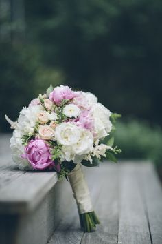 Pink + ivory bridal bouquet idea - lush pink peonies + roses in shades of pink and ivory {Kane and Social}