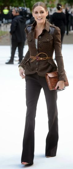 Beautiful brown blazer on Olivia Palermo