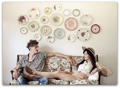 Use the mismatched china you collected from your wedding to decorate at home - a great reminder of your wedding day!