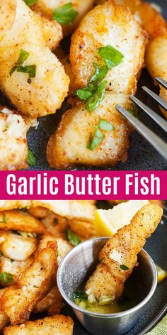 Garlic Butter Fish - crispy and delicious pan-fried fish fillet with garlic butter sauce. This recipes takes 20 mins. Serve alone or with pasta for a wholesome dinner | rasamalaysia.com #fish