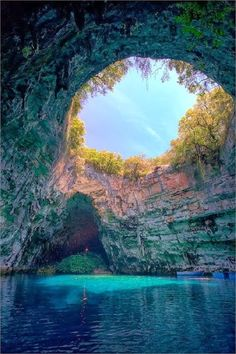 Melissani Lake in The Island of Kefalonia, Greece