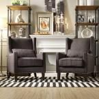 Ashley Charcoal (Grey) Linen Wing Back Arm Chair