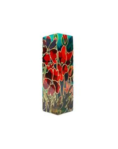 Poppy Field Hand Painted Glass Vase  Decorative by SylwiaGlassArt, $95.00