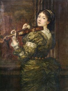George Frederic Watts (English, 1817-1904). Blanche, lady Lindsay, playing the violin