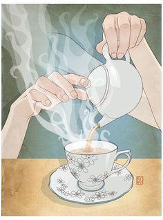 Tee Illustration, Tee Kunst, Deco Cafe, Tee Shop, Tea Quotes, Buch Design, Cuppa Tea, Fun Cup, My Cup Of Tea