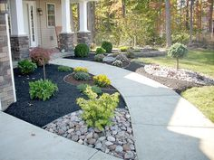 the contrast of black mulch and stone