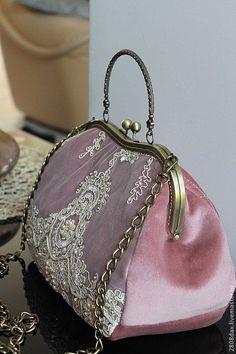 Купить Сумочка коллекционная, бархат, кружево, Винтаж - однотонный, сумка женская, сумка с декором, розовый