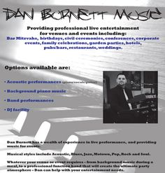 Dan Burnett, Pianist in the North West is a leading Piano Vocals Blues, Soul and Rock Singer destined for success at Edinburgh Jazz & Blues festival.