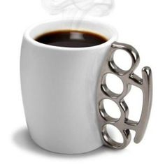 White and Gold Knuckle Duster Mug. Don't be a MUG, with the awesome Knuckle Duster Mug from Thabto.