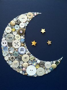Button Art Crescent Moon and Stars Gamma Phi Beta & Delta Tau Delta Art! Also amazing for a baby's nursery or a baby shower gift!