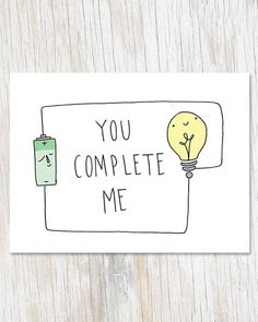 You Complete Me Greetings Card, Physics Electricity Blank Inside Love Card, Geek.