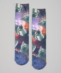 Look what I found on #zulily! LaDeDa Socks Purple Galaxy Cat Sublimation Crew Socks by LaDeDa Socks #zulilyfinds