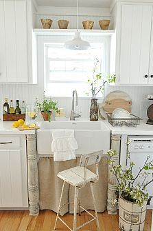 Farmhouse Kitchen-wish I had a window over my sink! Always loved that growing up when I did the dishes every nite.